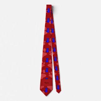 Custom name blue raccoon red paws tie
