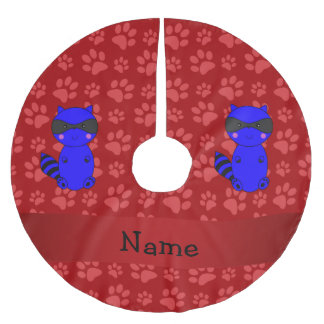 Custom name blue raccoon red paws brushed polyester tree skirt