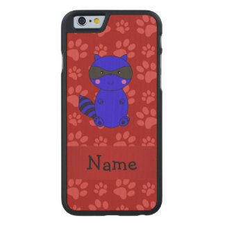 Custom name blue raccoon red paws carved® maple iPhone 6 case