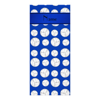 Custom name blue volleyballs blue stripe rack card