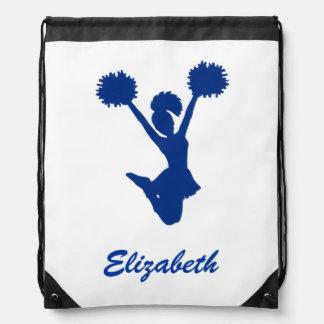 Custom Name Blue White Cheerleader Cheer Drawstring Bag