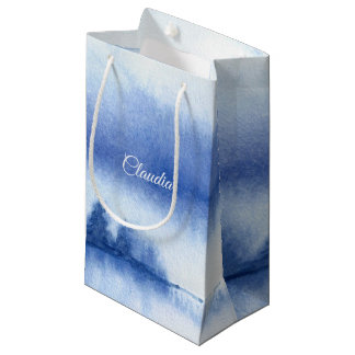 Custom Name | Blue Winter Forest Paper Gift Bags