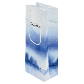 Custom Name | Blue Winter Forest Paper Wine Bags