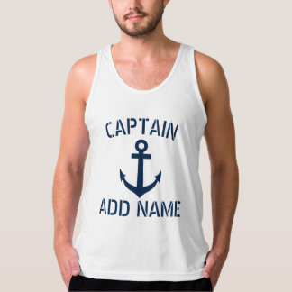 Custom name boat captain sailing tank top for men