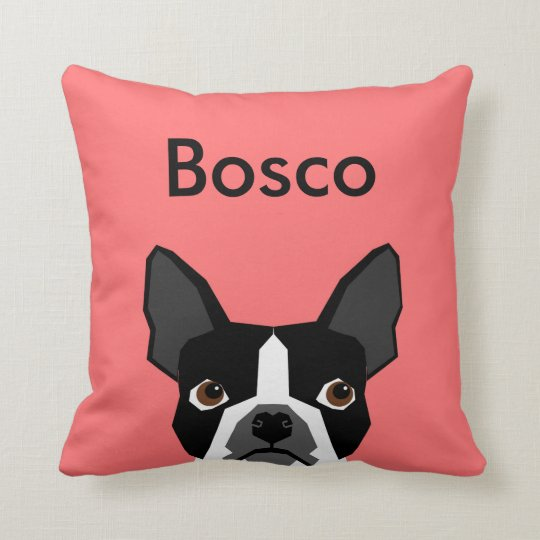 Custom Name Boston Terrier Pillow Pet Pillow
