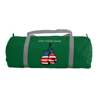 Custom Name Boxing Gloves Duffle Gym Bag, Emerald Gym Duffel Bag