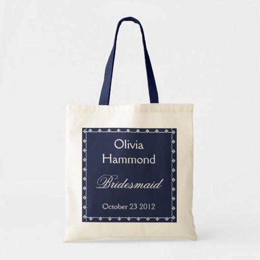 CUSTOM NAME Bridesmaid Bag NAVY & WHITE
