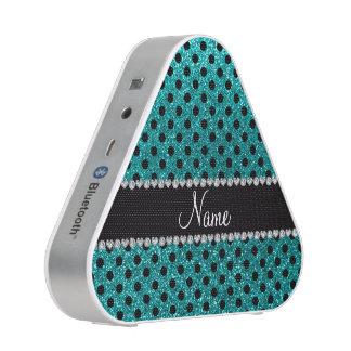 Custom name bright aqua glitter black polka dots
