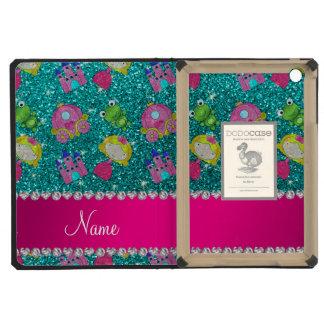 Custom name bright aqua glitter princess frogs iPad mini retina cover
