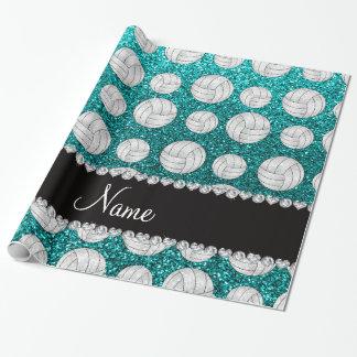 Custom name bright aqua glitter volleyballs wrapping paper