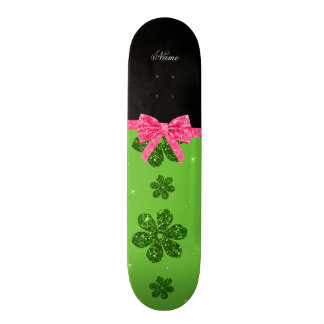 Custom name bright green glitter flowers pink bow skateboard decks