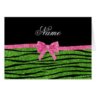 Custom name bright green glitter zebra stripes bow greeting cards