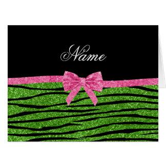 Custom name bright green glitter zebra stripes bow greeting card