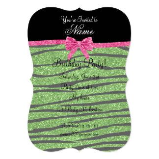 Custom name bright green glitter zebra stripes bow 5x7 paper invitation card