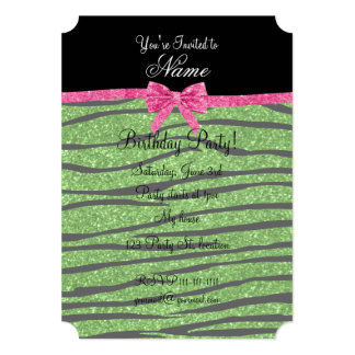Custom name bright green glitter zebra stripes bow personalized invites