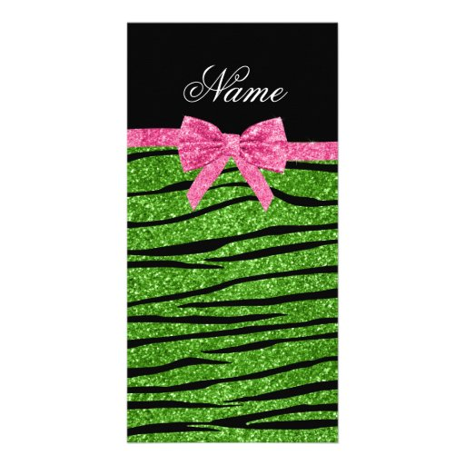 Custom name bright green glitter zebra stripes bow photo greeting card