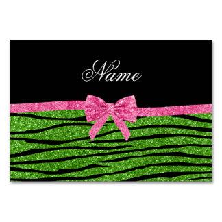 Custom name bright green glitter zebra stripes bow table card