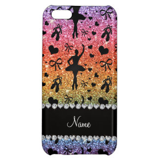 Custom name bright rainbow glitter ballerinas case for iPhone 5C