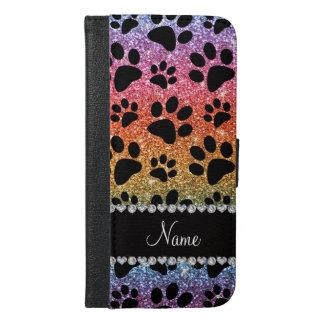 Custom name bright rainbow glitter black dog paws iPhone 6/6s plus wallet case