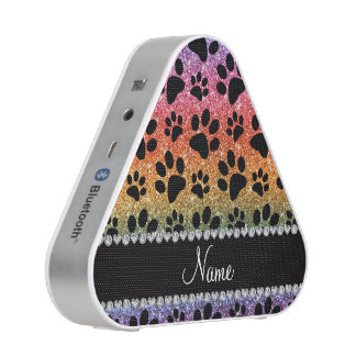 Custom name bright rainbow glitter black dog paws speaker