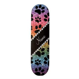 Custom name bright rainbow glitter black dog paws custom skate board