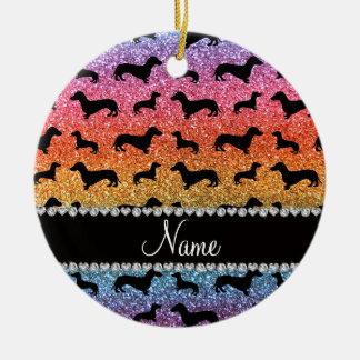 Custom name bright rainbow glitter dachshunds round ceramic decoration