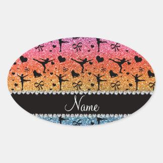 Custom name bright rainbow glitter figure skating sticker