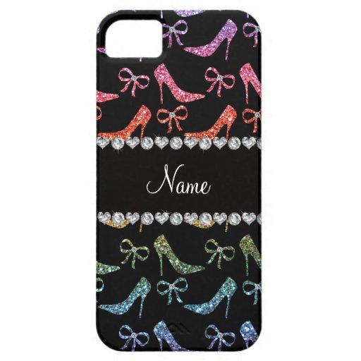 Custom name bright rainbow glitter high heels bow case for iPhone 5/5S