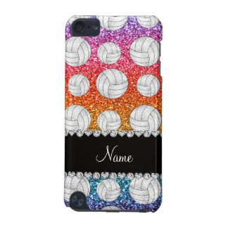 Custom name bright rainbow glitter volleyballs iPod touch 5G covers