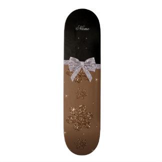 Custom name brown glitter flowers silver bow 21.6 cm skateboard deck