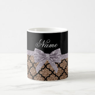 Custom name brown glitter moroccan silver bow coffee mug