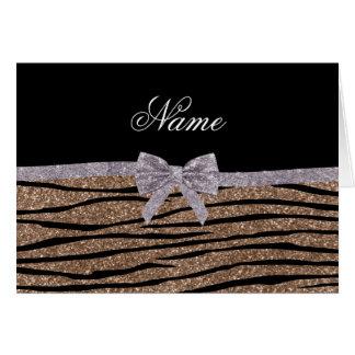 Custom name brown glitter zebra stripes silver bow greeting cards