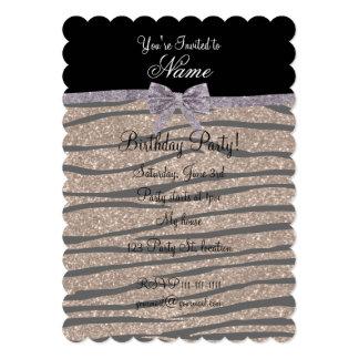 Custom name brown glitter zebra stripes silver bow invitations