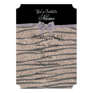 Custom name brown glitter zebra stripes silver bow custom invites