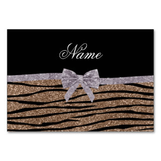Custom name brown glitter zebra stripes silver bow table cards