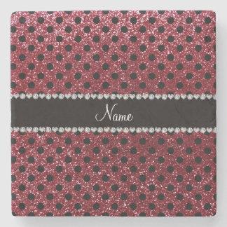 Custom name burgundy glitter black polka dots stone coaster