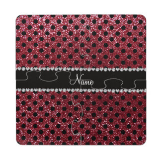 Custom name burgundy glitter black polka dots puzzle coaster