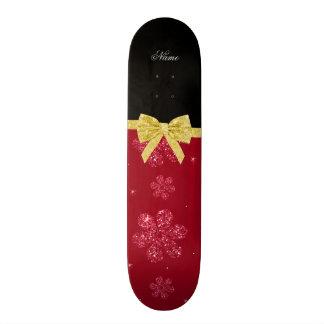 Custom name burgundy glitter flowers gold bow skate decks