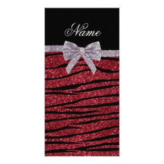 Custom name burgundy glitter zebra stripes bow photo greeting card