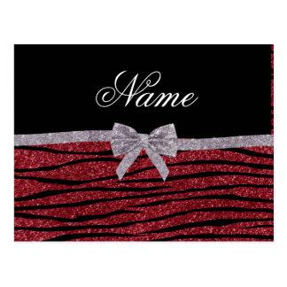 Custom name burgundy glitter zebra stripes bow postcard