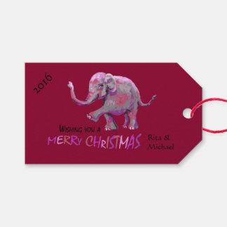 Custom Name Burgundy Little Painted Elephant Xmas Gift Tags