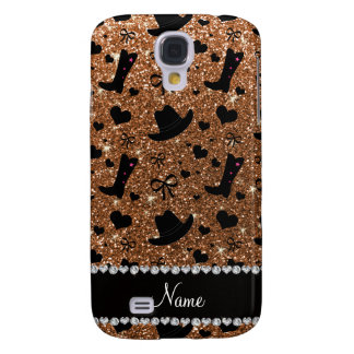 Custom name burnt gold glitter cowboy boots hats galaxy s4 case