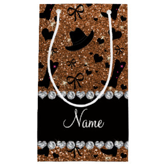 Custom name burnt gold glitter cowboy boots hats small gift bag