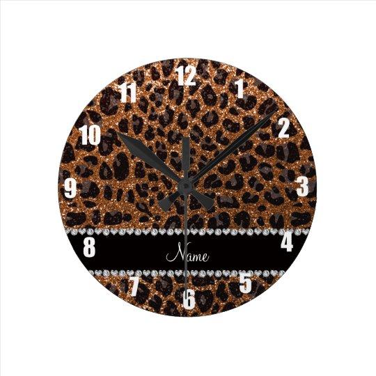 Custom name burnt gold glitter leopard print round
