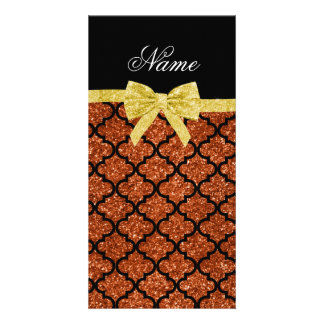 Custom name burnt orange glitter moroccan gold bow photo card template