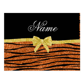 Custom name burnt orange glitter zebra stripes bow postcard