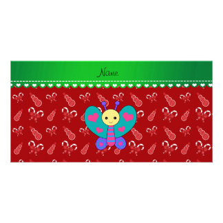 Custom name butterfly red candy canes snowmen custom photo card