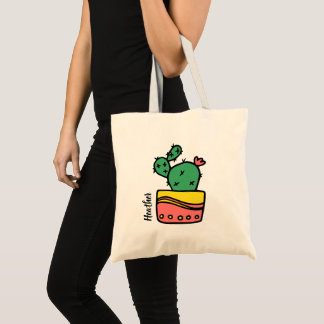 Custom Name Cactus Tote Bag
