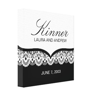 Custom Name Canvas with Lace (black and white) Canvas Print
