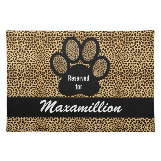 Custom Name Cheetah Print Pet Dinner Placemat